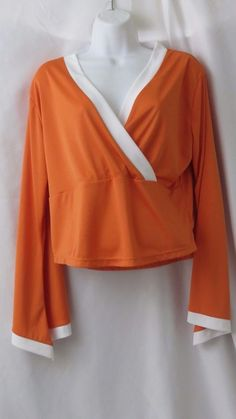 Size 12  Blouse short Sleeve Orange White Women's 100% Polyester Soild V Neck #Woodpecker #Blouse #Casual