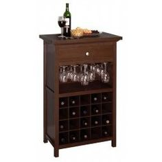 Wine Cabinet with Stemware Rack by Winsome Trading $179 a home bar for #fallentertaining #fallessentials