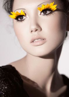 Yellow flower petals eyelashes Make-up. that is so nifty