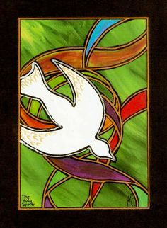 """The Holy Spirit"" 16""x12"" original acrylic painting in my signature ""Stained-Glass-Canvas"" style; SOLD!"