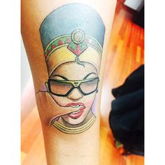 Queen Nefertiti tattoo by Pony Lawson, Chicago, IL