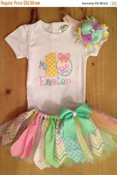 ON SALE My 1st Easter Scrap Fabric Tutu Outfit by ScrapHappyTutus