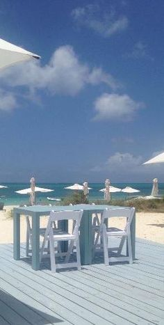 The Beach House beach deck, where our delectable lunch is served each day (Turks and Caicos)