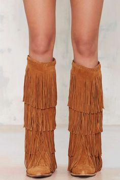 Jeffrey Campbell Esconder Fringe Suede Boot - Knee High | Flats | Jeffrey Campbell |  |