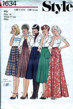 Misses' Skirt In 5 Lengths Pattern / 1970's fashion The Vintage Pattern Company www.vintagepatternco.etsy.com £3.90