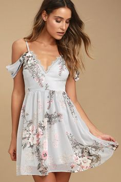 Lulus Exclusive! Lovely pieces like the Verona Light Blue Floral Print Off-the-Shoulder Lace Dress can't help but gravitate to you! Adjustable spaghetti straps support woven, off-the-shoulder sleeves, and a darted, triangle bodice with eyelash lace trim. Blush pink, grey, and ivory floral print dances throughout the skater silhouette. Hidden back zipper.