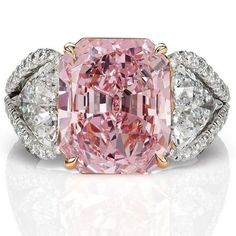 Rosamaria G Frangini | High Pink Jewellery | 7 carats Pink Diamond and Diamond gem set Ring in a floral open pave three…