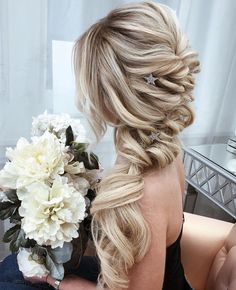 Elegant Prom Updo Wedding Hairstyles for Medium length Hair and Long Hair; Trending wedding hairstyles in updos; Curled Hairstyles, Trendy Hairstyles, Wedding Hairstyles, Hairdos, Updos, Hairdo Wedding, Prom Updo, Bridal Braids, Perfect Curls