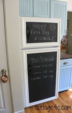 framed chalkboard fridge. Such a smart idea to cover an ugly fridge and make it match your rustic kitchen. This is definitely on my to do list!