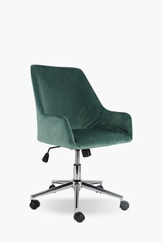Working long hours at your desk are made comfortable with our Thornton office chair. This chair has castors for easy mobility and is upholstered with polye Velvet Office Chair, Retro Office Chair, Office Chairs, Large Furniture, New Furniture, Office Furniture, Wall Shelves, Shopping, Home Decor