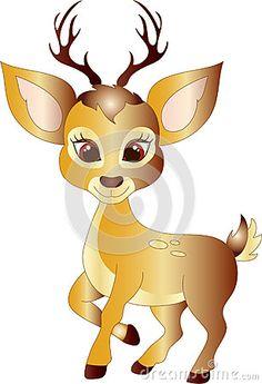 Cute Cartoon golden deer vector illustration.
