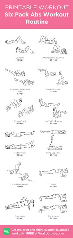 Six Pack Abs Workout Routine:my custom printable workout by - Fitness workouts - Fitness Workouts, Fitness Diet, At Home Workouts, Fitness Motivation, Health Fitness, Beginner Workouts, Core Workouts, Core Exercises, Training Workouts