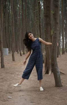 Blue Ikat Jumpsuit from the house of Threeness. Featuring a simple and elegant blue an Teen Fashion Outfits, Fashion Dresses, 70s Fashion, Trendy Fashion, Casual Indian Fashion, Korean Fashion, Casual Frocks, Ikkat Dresses, Frock For Women