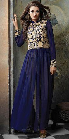 Lavishing Georgette Anarkali Suit In Navy Blue And Cream Color.