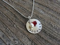 Oklahoma Sooners Hand Stamped Metal Necklace