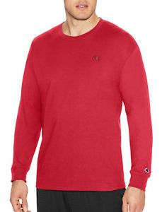 Champion Long-Sleeve Tee Shirt Classic Cotton Jersey Athletic fit Activewear Men