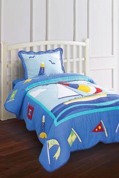 For a nautical or Cape Cod look -  Hallmart Kids Nantucket Sailboat Quilt & Sham Set. $109-$139