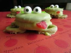 Oreo, candy, pretzel frogs: