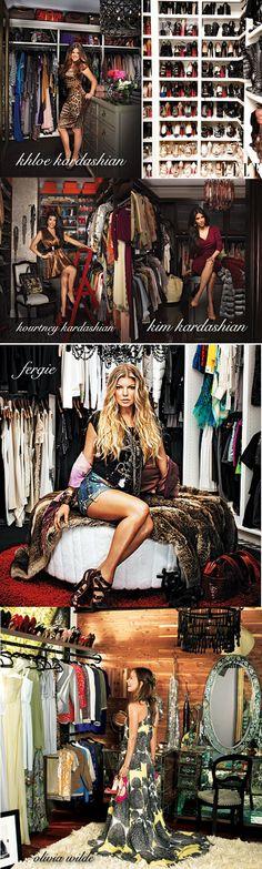 closet ideas, closet inspiration, beautiful closets, famous closets, celebrity closets