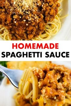 Homemade spaghetti sauce to serve over your favorite pasta. This meat sauce is perfect to serve with spaghetti, rotini, ravioli, or any other pasta. homemade spaghetti sauce easy, spaghetti sauce recipe, spaghetti sauce recipes homemade, spaghetti sauce recipe easy, Healthy meals, Healthy recipes for family, Easy making recipes, #pastasauce #spaghettisauce #spaghetti #sauce #recipe #easyrecipe #delish #yummy #meatsauce Homemade Italian Spaghetti Sauce, Homemade Meat Sauce, Meat Sauce Recipes, Quick Easy Meals, Easy Dinner Recipes, Easy Dinners, Delicious Recipes, Easy Recipes, Side Dishes Easy