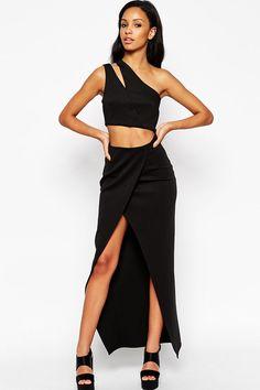 2pcs Cut Away Scuba Maxi Dress with Slit