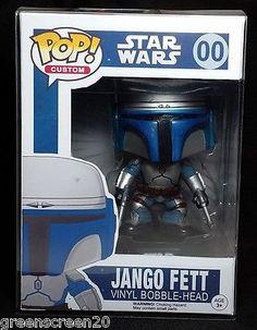 Funko POP Jango Fett With Custom Box Vinyl Bobble Head Figure Star Wars HTF Rare