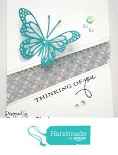 Handmade Thinking of you Greeting Card with cut out gray border and Butterfly Rhinestones Embellishments with Envelope included 5 x 6 inches Blank inside from Mis Creaciones by Patricia Chalas http://www.amazon.com/dp/B01FB30I8E/ref=hnd_sw_r_pi_dp_alumxb1SRT472 #handmadeatamazon