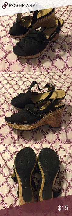 Black wedges Black  wedges, cork heel, 3 inch heel - never worn Shoes