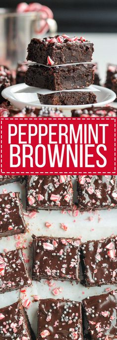 These Peppermint Brownies are classic fudge brownies with peppermint extract and mint chips for a chilly winter twist. This easy brownie recipe is topped with dark chocolate ganache and crushed candy (Chocolate Mint Fudge) Winter Desserts, Halloween Desserts, Holiday Baking, Christmas Desserts, Christmas Treats, Christmas Baking, Christmas Candy, Christmas Eve, Christmas Cookies