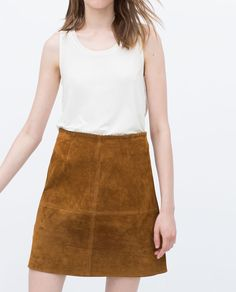 Image 3 of SEAMED SKIRT WITH TRIMMED WAIST from Zara Tan Suede Skirt, Summer Skirts, Mini Skirts, Zara Women, Comment Porter, Waist Skirt, Autumn Fashion, Leather, How To Wear