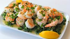 Video: Spicy Garlic Shrimp Over Garlic Spinach. This looks delicious. Shrimp And Spinach Recipes, Spicy Recipes, Seafood Recipes, Dinner Recipes, Healthy Recipes, Delicious Recipes, Dinner Ideas, Paleo Food, Protein Recipes