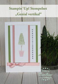 www.conibaer.de Geburtstagskarte mit schönem Bäumchen (Set: genial Vertikal) / Basteln / Stempeln / Selbstgemacht - birthday card with beautiful trimmed tree 7 Papercrafts / Stamping