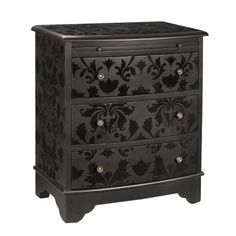 Dresser painted in black matte paint stenciled with black gloss paint.
