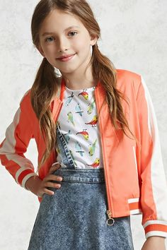Forever 21 Girls - A satin bomber jacket featuring a ribbed varsity striped trim, contrasting front welt pockets, a pull-ring zip front and contrasting arm stripes. Kids Outfits Girls, Cute Outfits For Kids, Girl Outfits, Fashion Outfits, Fashion Ideas, Casual Outfits, Women's Fashion, Kids Bomber Jacket, Zara
