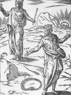 """Janus 1608, is a theme in the Renaissance """"Banquet of the gods"""" where rather frivolous treatment of the circle-serpent symbol of immortality is given by Janus who is either made to toss it like a sporting ring or hoop(here), or to wear it like a scarf (Charles Sorel)."""