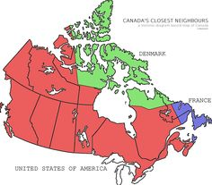 And this map shows which foreign neighbours are geographically closest to different parts of Canada. 15 Interesting Maps That Will Change The Way You See Canada I Love School, Green School, Cross Canada Road Trip, Voronoi Diagram, Canada Eh, History For Kids, Country Maps, Canadian History, Canada Travel