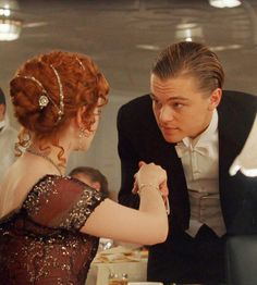 Titanic. Jack meets Rose in a formal setting.