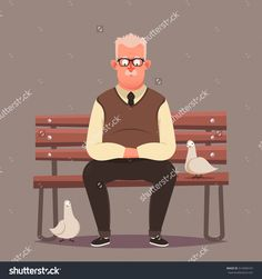 Funny Cartoon Character. Old Man Sitting on Bench. Vector Illustration