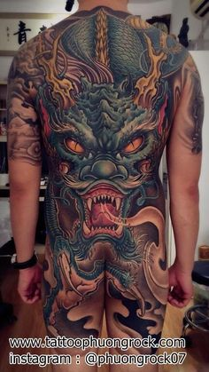 Dragon Tattoo Full Back, Dragon Tattoos For Men, Full Back Tattoos, Back Tattoos For Guys, Japanese Dragon Tattoos, Full Body Tattoo, Japanese Tattoo Art, Small Girl Tattoos, Dragon Tattoo Designs