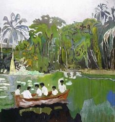 Peter Doig (Scottish, Contemporary, b. Red Boat (Imaginary Boys), Oil on canvas. 200 x 186 cm. © Peter Doig © This. Peter Doig, Landscape Art, Landscape Paintings, Acrylic Paintings, Art Et Illustration, Illustrations, Kunsthistorisches Museum, Magic Realism, Art Moderne