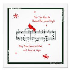 Music and Red Cardinal Bird Christmas Card