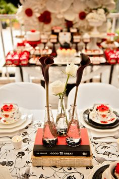 Black,white and red wedding colors.