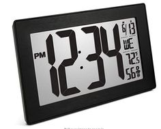 Marathon Slim Panoramic Atomic Full Calendar Wall Clock with 8 Time Zones, Indoor Temperature, and Stand - Batteries Included - CL030068BK-BS (Black Case/Black Stainless Finish) Atomic Wall Clock, Led Wall Clock, Wall Clocks, Wall Clock With Date, Office Wall Clock, Wall Clock With Temperature, Marathon Watch, Bali Blinds, Clock Display
