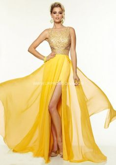 2015 Long Open Back Side Slit Prom Gown by Mori Lee 97087 Yellow
