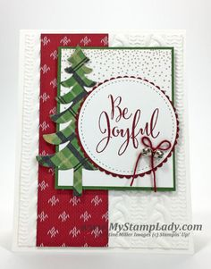 My Stamp Lady:  Be Joyful Christmas - Merriest Wishes - Stitched Shapes Framelits - Layering Circle Framelits - Santa's Sleigh Thinlits - Cable Knit EF - Warmth & Cheer DSP - Baker's Twine  - Mini Jingle Bells
