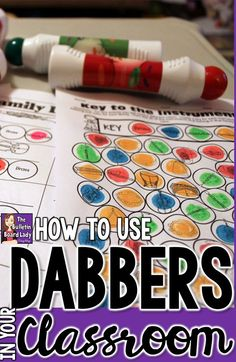 How to Use Dabbers in Your Classroom - They keep students engaged (and smiling!) and are perfect for quick assessments. Read about how to use them with no fuss and no mess. Ideas for workstations or centers are also included. Let's get dabbing! Kindergarten Music, Teaching Music, Preschool Music, 2nd Grade Music, Music Education Activities, Physical Activities, Music Classroom, Classroom Ideas, Classroom Design