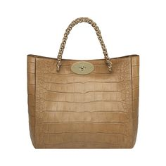 Mulberry - Cecily Tote in Biscuit Brown Soft Croc Print -  Beautiful