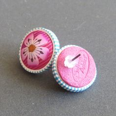 - polymer clay Sakura Earrings Magenta by SaffronAddict on Etsy