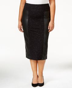 Melissa McCarthy Seven7 Plus Size Faux-Leather Pencil Skirt