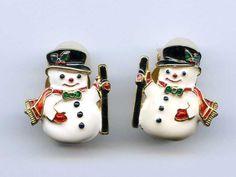 Vtg 1980s Snowman Christmas Enamel Gold Tone Clip on Earrings #NotSigned #Cluster